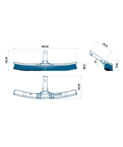 Gebogene Bürste 45cm zum Reinigen Schwimmbadwänden SERIE SHARK - 36615 AstralPool - 2