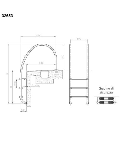 Ladder with 2 steps for swimming pool with overflow edges - 32653 AstralPool - 3