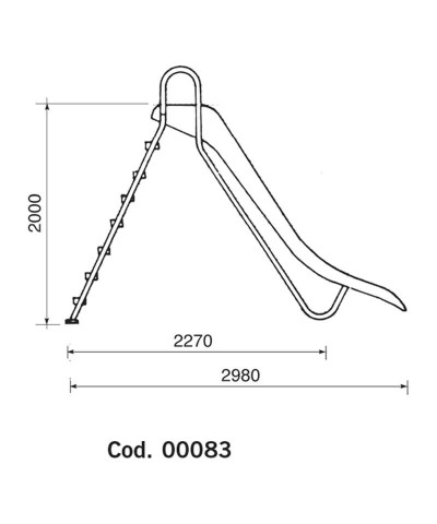 00083 Tobogán BERMUDA modelo recto altura 2m-2.