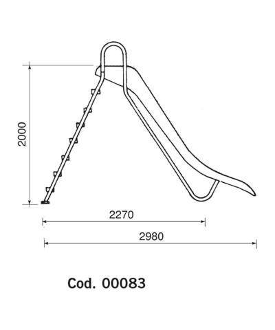 Tobogán para piscinas - modelo recto BERMUDA Altura 2m - 00083 AstralPool - 2