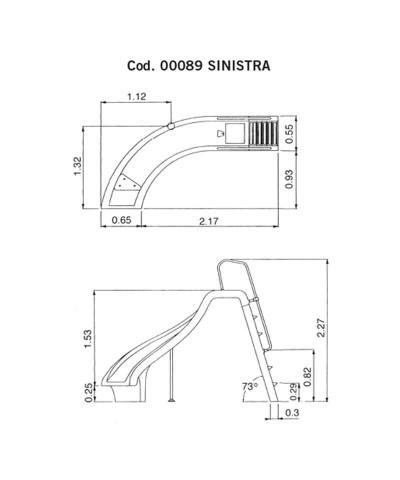 00089 Toboga curva a sinistra modello Altezza 1,78m AstralPool - 2