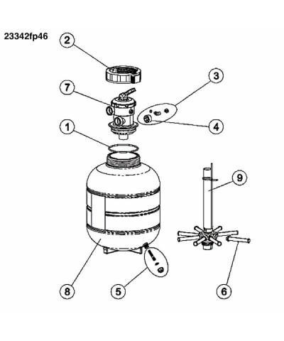 Sandfilter MILLENNIUM Monobloc 0,33Cv pour piscine - 23342fp46 AstralPool - 4