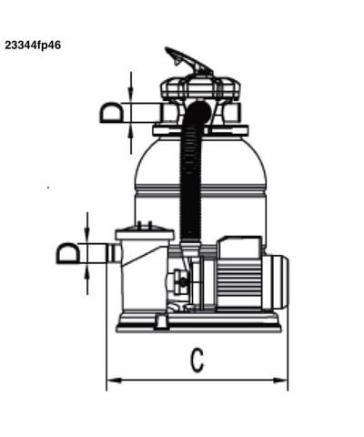 23344fp46 MILLENNIUM 0,75Cv Filtro Monoblocco a sabbia per piscina AstralPool - 2