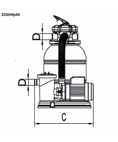 Sandfilter MILLENNIUM Monobloc 0,75Cv pour piscine - 23344fp46 AstralPool - 2
