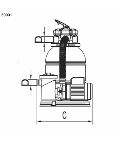 Sand filter Monobloc SAMOA 0,30 Hp for swimming pool - 50031 AstralPool - 3