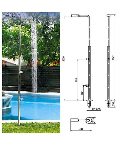 52718 ANGEL Swimming pool shower with foot washer-6.