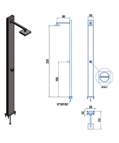 Swimming pool shower NIAGARA with antiscale system - 53872 AstralPool - 2
