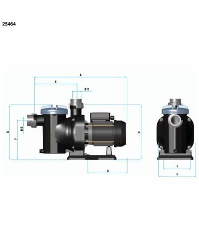 Dreiphasige selbstansaugende Schwimmbadpumpe SENA 0,75 PS - 25464 AstralPool - 4