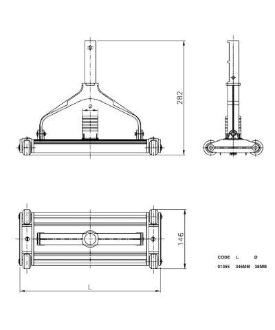 01355 Aspirateur en aluminium extrudé anodisé pour piscine-2.