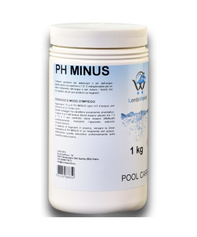 pH minus swimming pool water pH reducer - granular pH corrector 1Kg LordsWorld Pool Care - 1