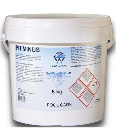 pH minus swimming pool water pH reducer - granular pH corrector 5Kg LordsWorld Pool Care - 1
