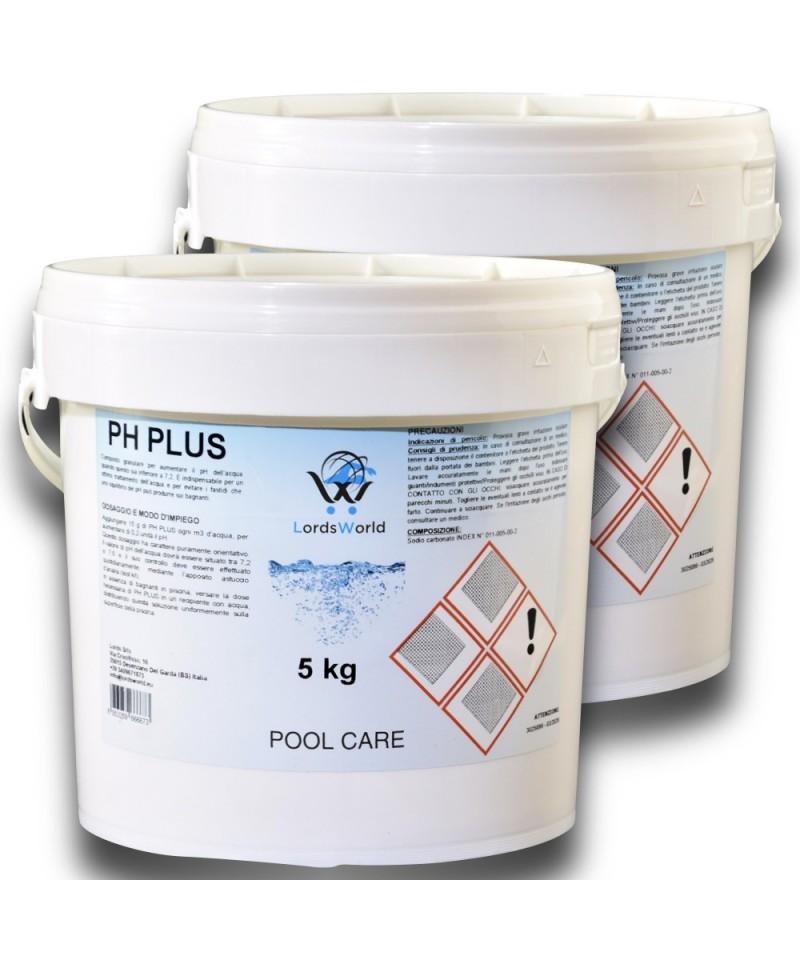 pH plus swimming pool water pH increaser - granular pH corrector 10Kg LordsWorld Pool Care - 1