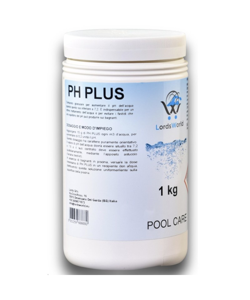 1kg pH plus incrémental Correcteur pH+ granulaire LordsWorld Pool Care - 1