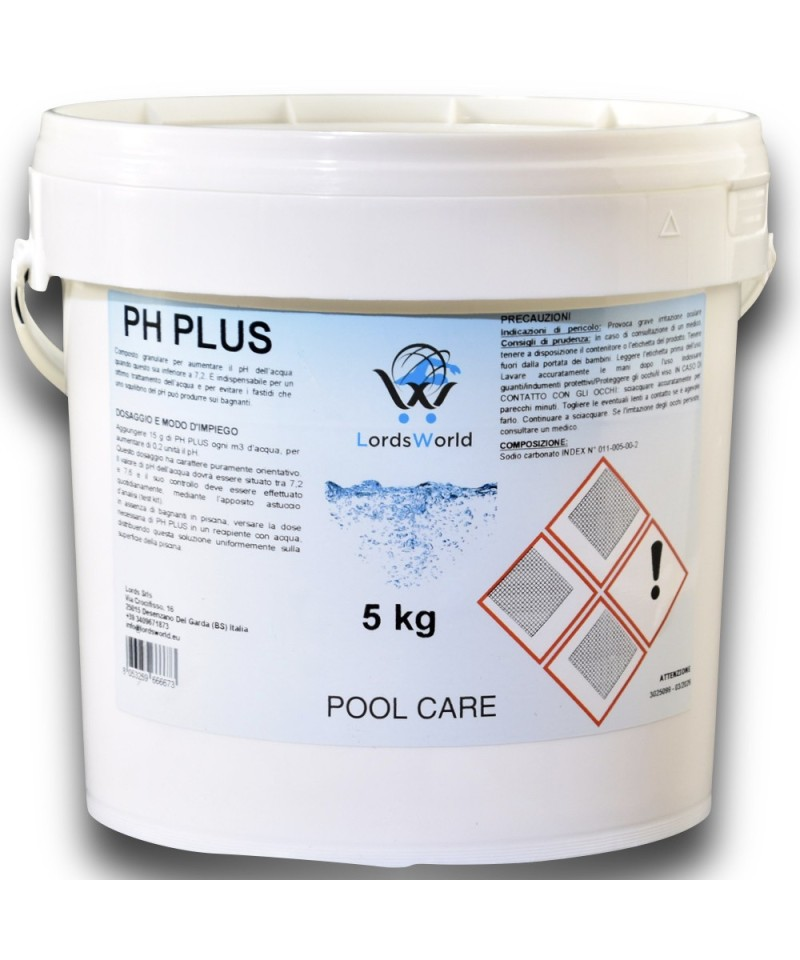pH plus per acqua della piscine - correttore di pH granulare 5Kg LordsWorld Pool Care - 1