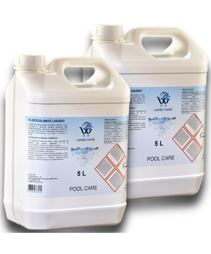 10Lt ( 2 X 5Lt) Floculant liquide clarificateur d'eau de piscine anti-turbidité LordsWorld Pool Care - 1