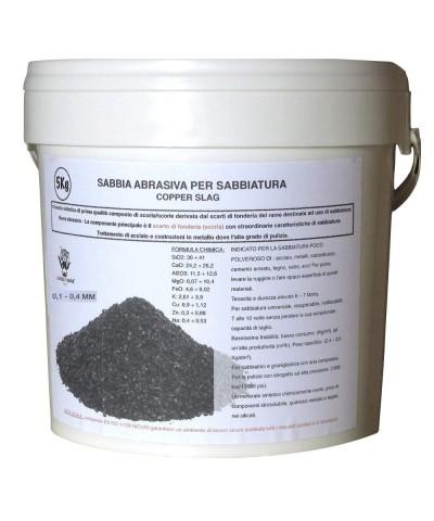 Sabbia abrasiva per sabbiatura 0,1 - 0,4Mm POLEN Scoria di rame 5kg