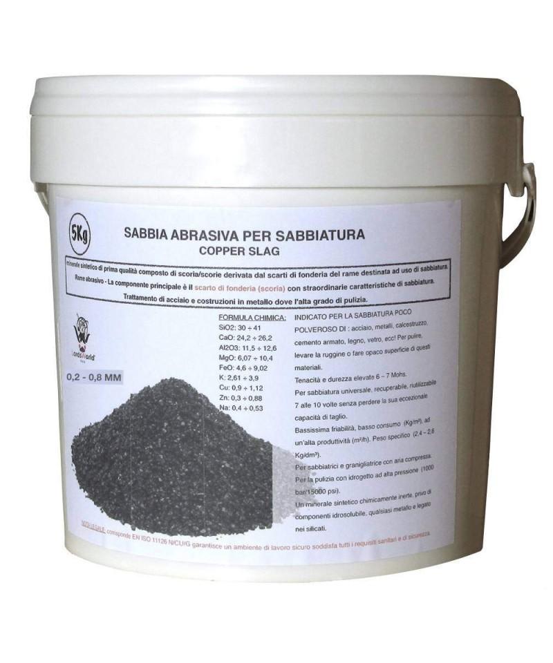 Sabbia abrasiva per sabbiatura 0,2 - 0,8Mm POLEN Scoria di rame 5kg LordsWorld - Loppa - 1
