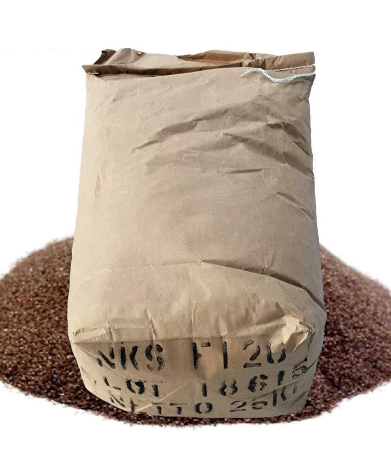 Corindon brun rouge 120 - sable abrasif à mailles pour sablage 25Kg LordsWorld - Corindone - 1
